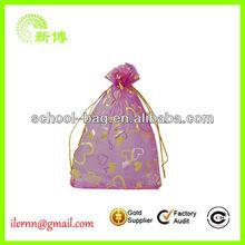 Wholesale Popular organza bag with logo ribbon