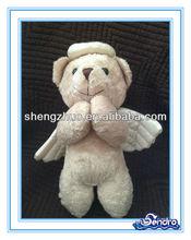 Plush mini bear praying toy halo wings