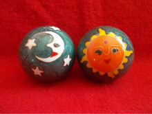 Chinese Stress Balls, Bells.. Sun And Moon Green (Marble effect Look)