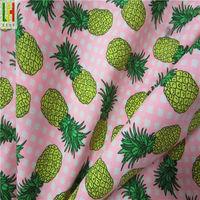 Pineapple printing poly microfiber peach twill fabric