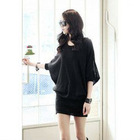 Casual Style Black Color Zipper Design Batwing Sleeve Cotton Women&#39;s Dress
