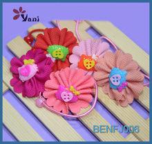 High quality Fashion rainbow color flower girls mini elastic hair bands