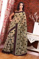 Printed Grey & Black Colour Designer Cotton Saree