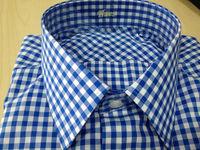 Men shirt - Blue - White checkered 100% cotton
