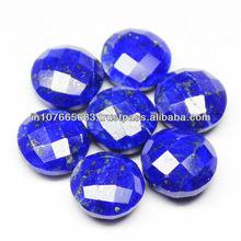 9x9mm - Natural Lapis Lazuli Faceted Round Shape Checker Cut Drops Gemstone - 1 Gem