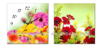 "canvas wall picture ""flower clock"" spring home decoration clock"