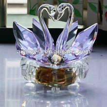 swan crystal music box for birthday/wedding