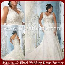 JU3148 New Arrivals Graceful V Front V Back Lace Overylay Beaded Wedding Dress Fat Woman
