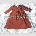 Lovely! O mais novo! Brown cor sólida manga longa de uma peça de moda infantil meninas vestidos de festa para meninas de 10 anos roupa velha
