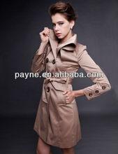 Elegant womans long denim coat 2014