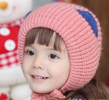F70002H Children age season cat ears baby hat girl turtleneck cap knitted cap