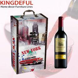 2 Bottles Custom Wooden Wine Box Wood Wine Carrier