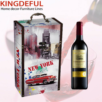 2 Bottles Custom Wooden Wine Box Wood Wine Carrier