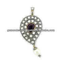 Bezel Set Rose Cut Diamond Natural Pearl Ruby Gemstone Designer Pendant Wholesale Jewelry