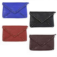 The envelope flap clutch bag BAG back with bag fake leather splinter corn spikes studs