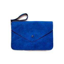 The envelope flap Nubuck Leather Clutch Bag Navy Fabric Evening Bag