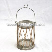 Decorative antique finish Rope braiding metal candle lantern
