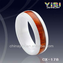 Fashionable Red Wood Ceramic Ring,Unique Ceramic Ring Dome Ends,Mens White Ceramic Wedding Rings