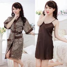 Sexy Lingerie Womens sleep dress Leopard Spaghetti Straps Nightdress + Night robe Sleepwear Hot Sexy 15259