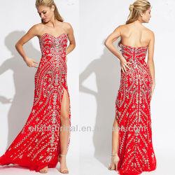 New Arrival Designer Strapless High Slit Heavy Crystal Beaded Red Long Evening Dress 2014