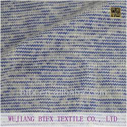 polyester rayon spandex fabric/ jersey slub fabric/ blue and white knit fabric