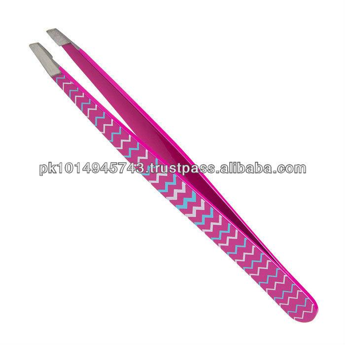 Professional Beauty Salon Eyebrow Slanted Pink Tweezers