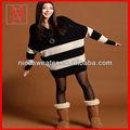 Moda de corea negro& blanco suelto raya suéter de las mujeres más tamaño abrigos de invierno