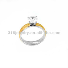 2014 new hot sale fashionable woman zircon stainless steel wedding ring 2tones NJZ-136