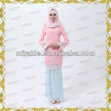 MF20362 Latest style elegant dress fashion baju kurung muslimah