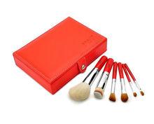 best 6pcs red/black goat hair make up brush set with box