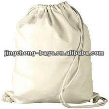 Blank white canvas drawstring laundry bag