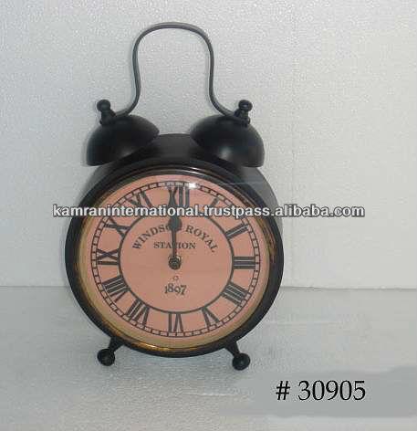 Antique brass alarm table clock, decorative table clock, fancy table clock