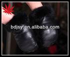 Female's true leather mitten with rabbit fur cuff gloves-fur lined glove
