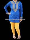 Blue Cotton Tunic Bohemian Kurti Indian Party Wear 2013
