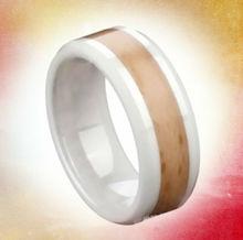(RC-6100) Two tone white mens ceramic wedding bands