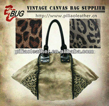Antique animal print bag with dying washing for unique women