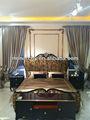 B6003-16/17/18 chino antiguo de madera tallada de la cama