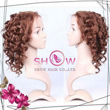 Hot selling 100% brazilian human hair wigs curly short wigs midium brown full lace wigs for bald women