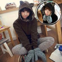 Casual Women's Hoodie Long Sleeve Leopard/Cat Ears Sweatshirt Outerwear Coat Black/ Coffee9563