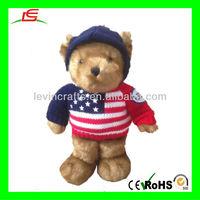 LE-D632 USA Plush Stuffed Teddy Bear Toys Wearing Knit Sweater