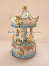 Resin Musical Carousel 5'' Music box Home Decoration Gift