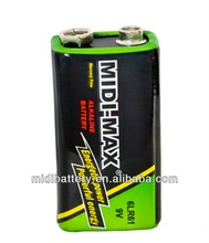 Alkaline 9V Dry Batteries 1pcs/shrink lr61 batteries factory