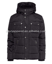 Men european style quilted jackets with hood