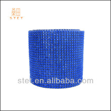 24rows diamond rhinestone mesh ribbon fabric roll for wedding decoration pvc coated trimming