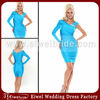 AT7048 2014 Special Design One Long Sleeve Blue Ruffles New Fashion Cocktail Dresses