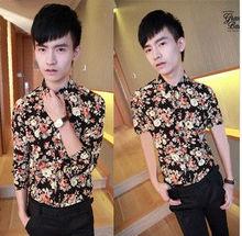 F70055I Summer wear new men broken beautiful flowers han edition men's short sleeve shirt, cultivate one's morality fashion