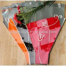 colorfull printed clear plastic flower bag for packaging flower