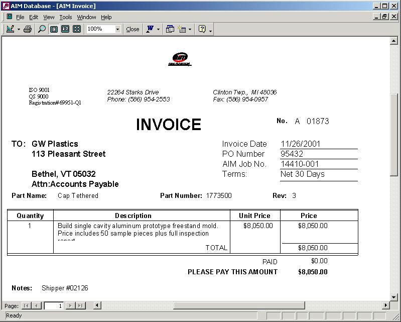 sample billing invoice