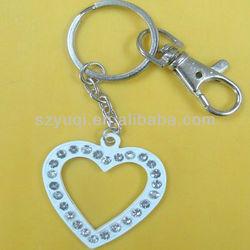 wholesale zinc alloy metal crystal heart keyring parts