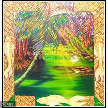 Handmade Tropical Hawaii Natural scenery oil paintings, shadow pondb